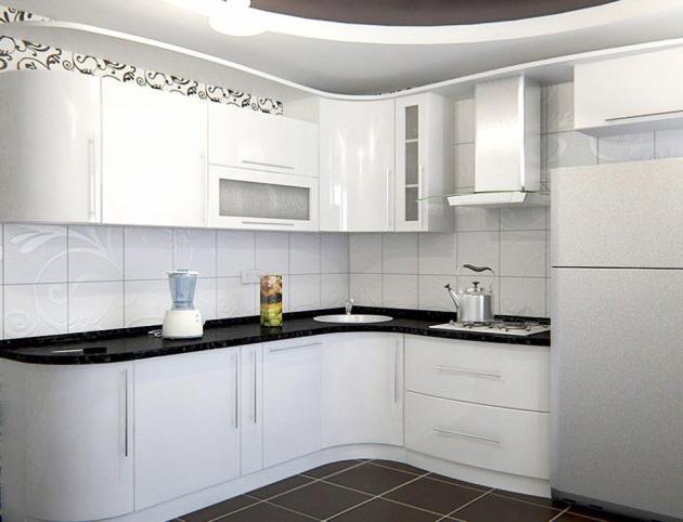 Угловая кухня «Супер-белый глянец»
