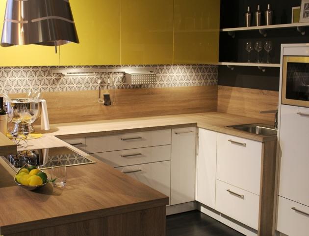 П-образная кухня «Желтый + Белый»